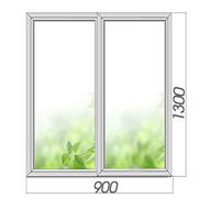 Двухкамерное готовое глухое окно с импостом 900*1300