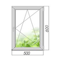 Двухкамерное окно готовое поворотно-откидное 600*500